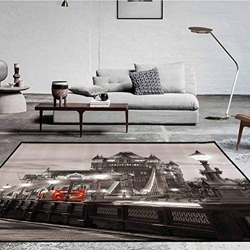 House Decor Polyester Elegant Rug for Bathroom Laundry Room London Themed Decor Tower Bridge in The Famous City Urban Life Scenery European Picture Taupe Grey and Red 5 x 7 ft