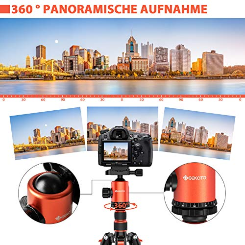 GEEKOTO Stativ Kamera Stativ 200cm, Aluminum Reisestativ mit Einbeinstativ und 360° Panorama Kugelkopf, 1/4 Schnellwechselplatte und Stativtasche für Canon Nikon Sony Spiegelreflexkamera bis zu 8kg