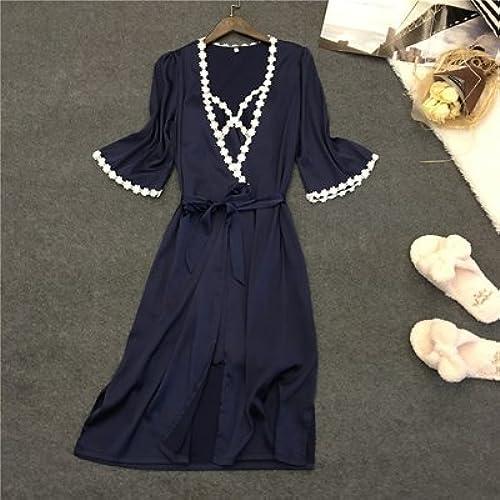 PPOJAS Mini-robe de longueur des femmes Set été Half-Sleeve Femme vêteHommests de nuit peignoir + robe Two Pieces Lingerie Set