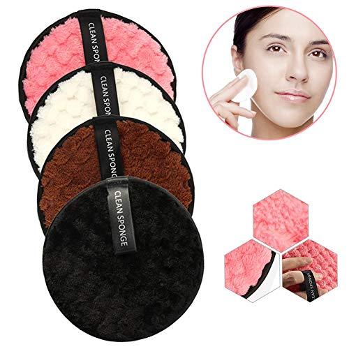 HNLZGL 4PCS réutilisable Make Up Pads enleveurs Super bouffée Souple Lavable en Fibre, Nettoyage Eco Friendly éponge pour Les Yeux Visage lèvres