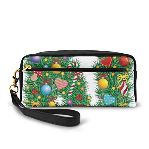 Pencil Case Pen Bag Pouch Stationary,Capital N in Green Color with Coniferous Leaves Bells Bowknots Hearts and Stars,Small Makeup Bag Coin Purse