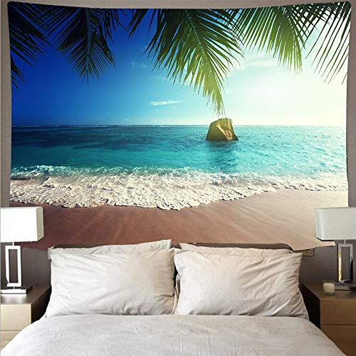 KHKJ Seaside beach landscape tapestry wall covering art tapestry hippie wall hanging beach towel bedroom decoration A5 200x150cm