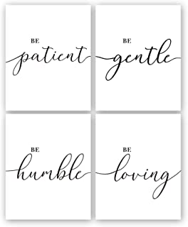 "Inspirational Quotes Wall Art Print,Be Patient Be Gentle Bible Verse Canvas Poster Painting,Set of 4 (8X10"",Unframed) Black and White Scripture Wall Art for Home,Office Decor"