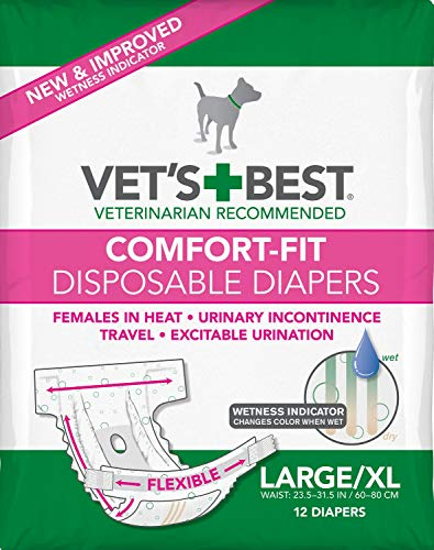 Vet's Best Diapers for Female Dogs, Comfort-Fit Disposable, Large/X-Large, 12 Count, 6 Pack