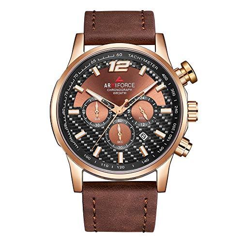 Armbanduhr,wasserdichte Kalenderfunktion 6-Pin-Quarzuhr, Rose-Shell-Kaffee