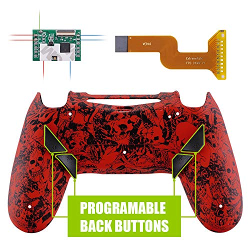 eXtremeRate Dawn Programable Remap Kit PS4 Scuf Reasignación de Botones para Playstaion 4 con Mod Chip&Carcasa Trasera&4 Botones Traseros Compatible con PS4 JDM 040/050/055(Demonio y Monstruo)