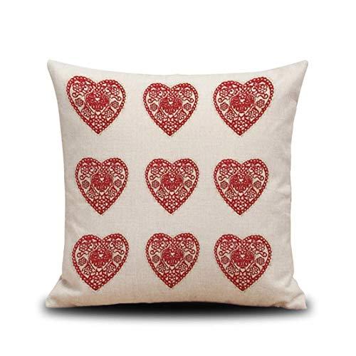 Funda Cojine Funda Almohada Funda de cojín mezclada de lino de algodón decorativo el hogar a la moda funda de almohada de estilo parisino cuadrada 45 cm * 45 cm sofá Decor Navidad Año nuevo regalo