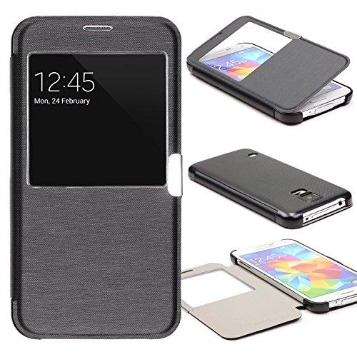 Urcover® View Case Handy Schutz-Hülle | Samsung Galaxy S5 Mini | Hart Kunststoff Schwarz | Elegant Wallet Cover Sicht-Fenster | leichte Schale dünne Tasche