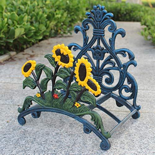 CiaoyueWuu Girasol Europeo Soporte de tubería de Hierro Fundido Hierro Fundido Adornos de jardinería Retro Villa Garden Watre Pipe Rack