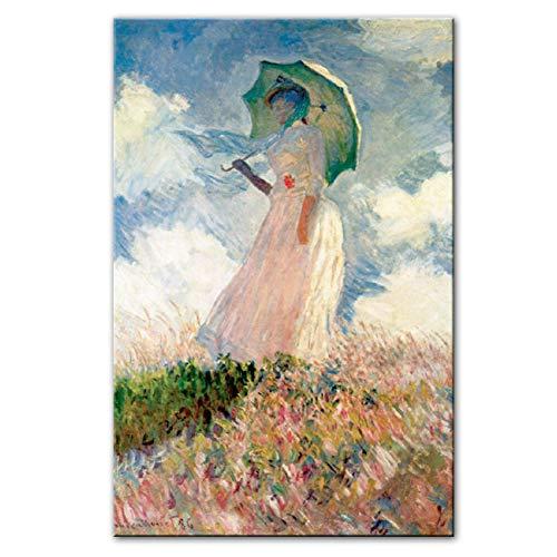 xiongda Claude Monet Frau mit einem Sonnenschirm Wandkunst Leinwandbilder Reproduktionen Impressionist Berühmte Leinwand Kunstdrucke Home Decoration-24X36 Zoll ohne Rahmen