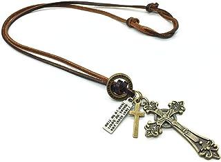 Cordão Colar Masculino Couro Legítimo + Pingente Crucifixo
