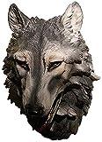 WQQLQX Statue Wanddekoration Tierskulptur Wand Hängende Tierkopf Wolf Kopf Büste Skulptur, Wandmontage Wolf Skulpturen