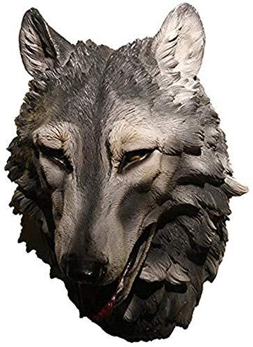 Escultura de escritorio Decoración de Pared Animal Escultura Muro Colgante Cabeza Lobo Lobo Hot...