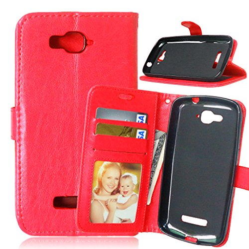 FUBAODA [Classic] Funda folio + Cable Libre para Alcatel One Touch Pop C7 (7041D 7040D) (rojo)