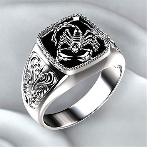 Wagrass Anillos modyle estilo gótico punk escorpión masculino, retro anillo con patrón de escorpión, anillos para joyería de hombre (color de la piedra principal: 16243, tamaño del anillo: 7)