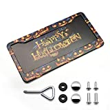 Funny License Plate Frame/Holder Pumpkin Ghost Trick or Treat Black Car Frames Awesome Custom Tag Printed Holder Aluminum Front License Plates Cover for Men/Women Auto US Size 6x12 Inch with 2 Holes