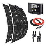Giosolar - Kit de Panel Solar Flexible de 200 W y 12 voltios con Controlador de Carga LCD de 20 A para Sistema de Carga Solar RV