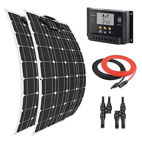 Giosolar Kit de Panneau Solaire Flexible avec contrôleur de Charge LCD 20 A pour système de Charge Solaire RV 200 W 12 V