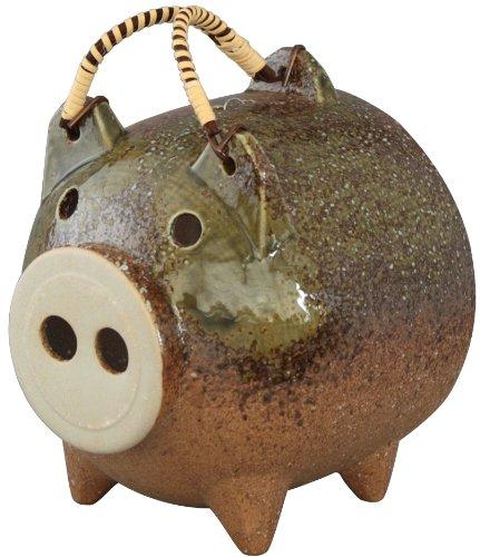 三陶 萬古焼 豚の蚊遣り 蚊取り豚 伊賀釉 10235