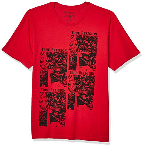 True Religion Men's SS HS Printed Fashion TEE, Ruby Red, L