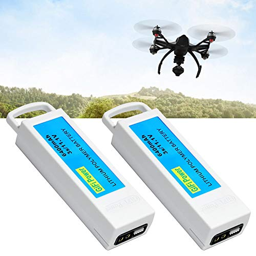 High Capacity 6400mAh Replacement Battery 3S 11.1V LiPo Battery for Yuneec Q500, Q500+,Q500 4K Typhoon FPV Drone (2PACK)