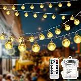 Lichterkette Außen, 10m 80LED Kristall Kugeln Lichterkette Batterie mit Fernbedienung 8 Modi Wasserdicht Außen Innen Weihnachten Lichterketten für Weihnachten, Terrasse, Pavillon, Garten(Warmweiß)