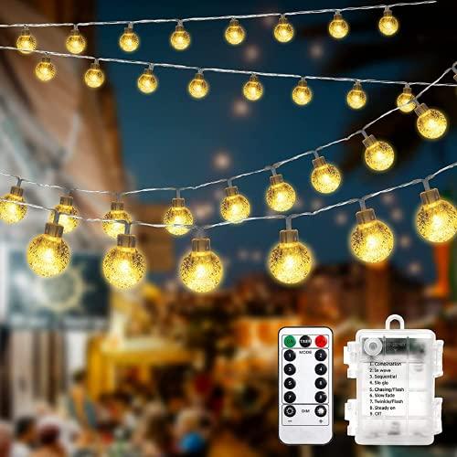 Catena Luminosa 32 ft 80 LED a batteria con luci da giardino esterne impermeabili remote per Natale, camera da letto, patio, decorazioni per gazebo