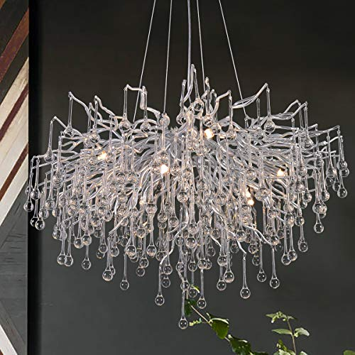 ANTILISHA Modern Crystal Chandelier Round Branch Forest Chandelier Lighting for Dining Room Kitchen Island Large Chandeliers for High Ceilings Long Large Light Fixture 31.5'' Silver