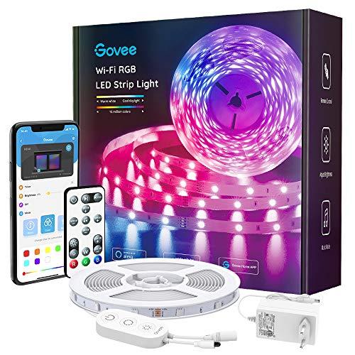 Govee Smart LED Strip, WiFi RGB LED Streifen 5m, steuerbar via App und Fernbedienung, Musiksync, arbeit mit Alexa und Google Assistant