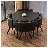 ダイニング5リビングルームキッチンレジャー表ソリッドウッド90cmの円卓現代革シート1表及び4つのチェアカフェテーブルとチェアオフィスレセプションルームラウンジのテーブルと椅子セット (Color : Round table black)