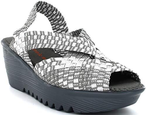 B M Bernie Mev New York Women's Brighten Wedge Sandal – Sandale, aperto e leggero, con plantare in memory foam per passeggiare in estate e autunno Grigio Size: 36 EU