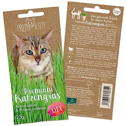 PRETTY KITTY Premium Katzengras Saatmischung: 1 Beutel je 25g Katzengras Samen für 10 Töpfe fertiges Katzengras – Eine grüne Katzen Wiese – Natürliche Katzen Leckerlies – Pflanzen Samen - Grassamen