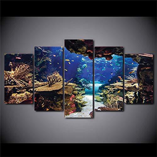 PUHAHA® Pintura de Paneles múltiples 5 Piezas Peces de agua salada arrecife de coral 200x100cm 5 paneles Cuadros Pinturas sobre lienzo Artes de la pared Impresiones de la lona Arte de la pared para de