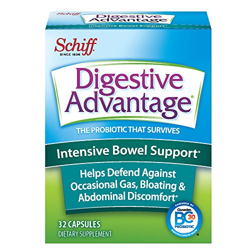 Intensive Bowel Support Probiotic Supplement- Digestive Advantage 32 Capsules,defends against gas, bloating, abdominal discomfort, Survives 100x Better