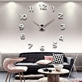 CreastionStore Frameless 3D DIY Wall Clock Mirror Surface Decorative Clock Large Mute Wall Stickers for Living Room Bedroom Home Decorations (Silver)