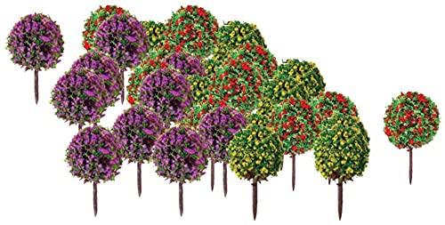 30st model trein bomen struiken met kleurrijke bloemen, schaal 1:100 nep boom voor diorama scène, projecten, wargame landschap gebouw
