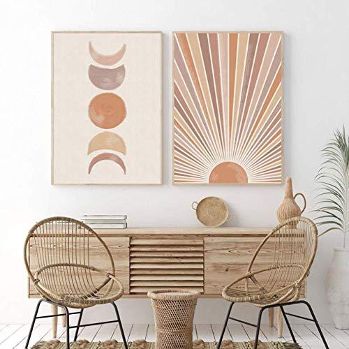 HHLSS Estilo nórdico 2x50x70cm sin Marco Sun Moon Print Boho Dormitorio Decoración Modern Mid Century Poster Terracota Wall Art Pictures Living Room