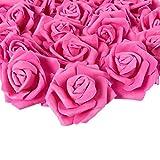 Juvale Cabezales de Rosas Artificiales 100 Unidades, Perfecto para decoración de Bodas, Baby Showers, Manualidades - 3 x 1,25 x 3 Pulgadas, Rosado Oscuro