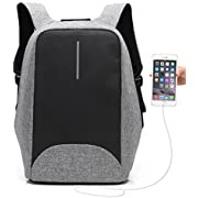 """Anti Theft Charging Backpack, UBaymax Security Backpack with USB Charging Port 15.6"""" Business Laptop Backpack, Waterproof Travel Rucksack Daypack Perfect Gift for Students/Men/Women (Grey)"""