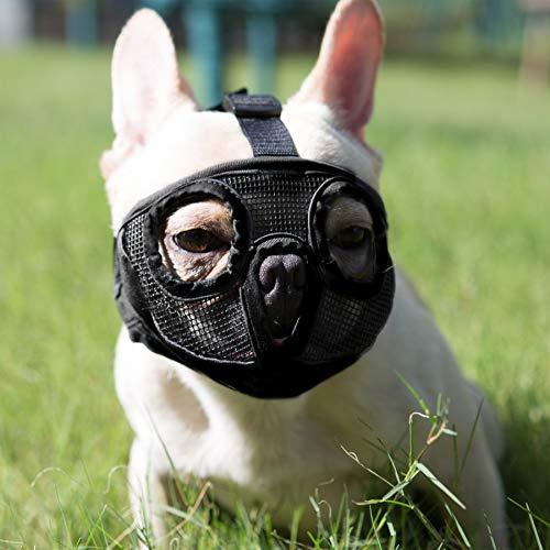 JYHY Short Snout Dog Muzzles- Adjustable Breathable Mesh Bulldog Muzzle for Biting Chewing Barking Training Dog Muzzle (L(15'-25'), Black(Eyehole))