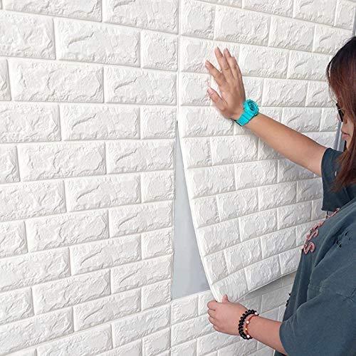 XWXBB 3D wandpanelen zelfklevend steenmotief behang 77 x 70 cm waterbestendig baksteen wandtattoo PVC verdicht DIY schuim paneel zachte baksteen anti-botsing muursticker 10 stuks White 10 Pcs 5mm