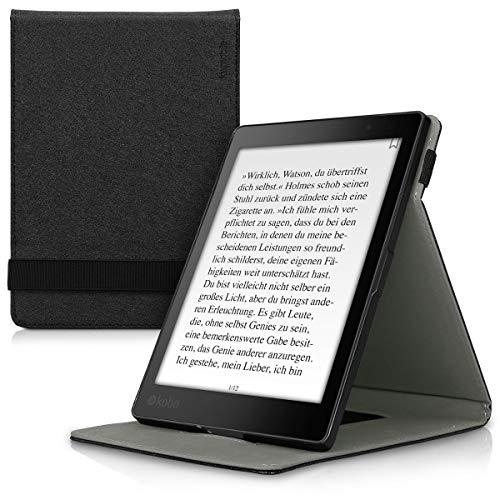 kwmobile Schutzhülle kompatibel mit Kobo Aura ONE - Hülle e-Reader mit Schlaufe Ständer - - Schwarz