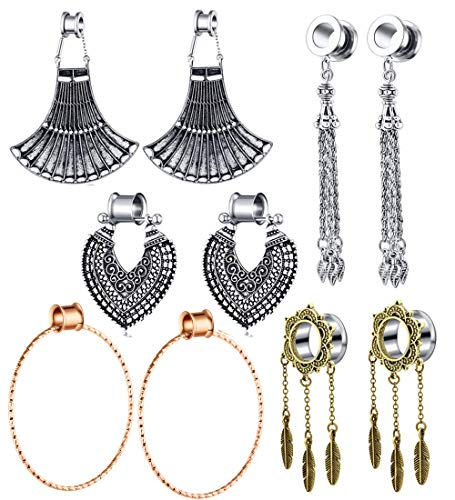 TIANCI FBYJS 5 Pairs Stainless Steel Dangle Gauges Ear Tunnels and Plugs 00 Gauges for Women Earrings Stretcher Screw Fit Saddle Piercing (10MM=00g)