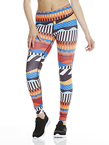 Damen Leggings Bold Stripe AOP Leggins, Royal Blue, L, BLNF0108
