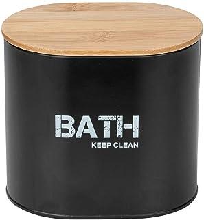 WENKO Boîte de salle de bains Gara avec couvercle Noir - Boîte de rangement, panier de salle de bain, Acier, 14.5 x 13.5 x...