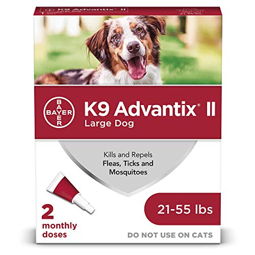 Bayer Animal Health K9 Advantix II Flea And Tick Prevention for Dogs, Dog Flea And Tick Treatment For Large Dogs 21-55 lbs, 2 Monthly Applications