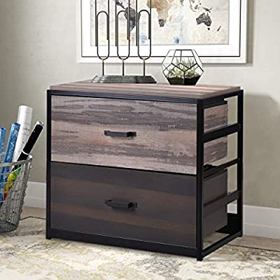 P PURLOVE 2 Drawer File Cabinet MDF Vertical Filing Cabinet Wood Lateral File Cabinet with 2 Drawers, Home Office File Cabinet