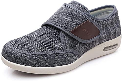 WTFYSYN Zapatos Transpirables para diabéticos,Zapatos Transpirables para Diabetes de Gran tamaño, Zapatos de papá con cojín-Gris Oscuro_35.5,Zapato Ajustable y cómodo para la Diabetes