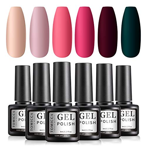 TOMICCA UV Nagellack 6 Farben Starter Set, Soak Off UV Gel Nail Polish Set für Nail Art Design...