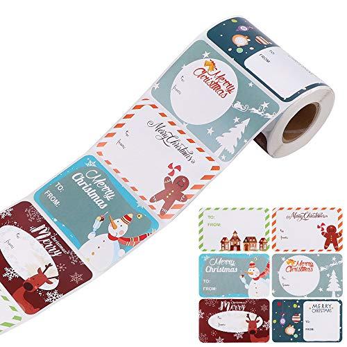 Autocollants d'étiquette de cadeau de Noël,250pcs/Rolls Noël Auto-adhésif Cadeau Autocollants pour Cadeau Noël Sac,Étiquette Autocollant Stickers,Noël Festival décoratifs étiquettes Autocollants